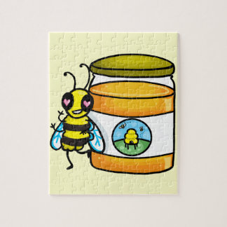 Cartoon bee leaning on honey jar puzzle