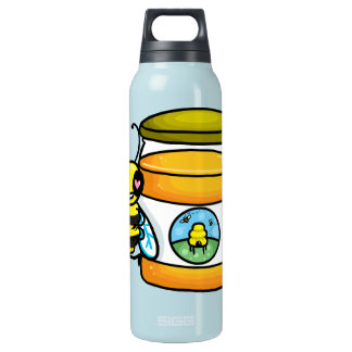 Cartoon bee leaning on honey jar thermos bottle