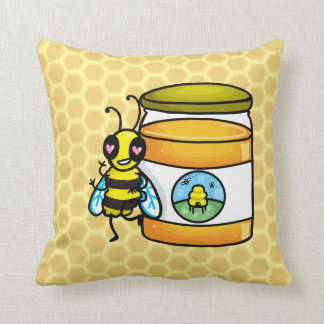 Cartoon bee leaning on honey jar throw pillow