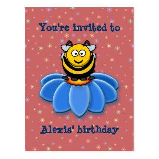 cartoon bee postcard