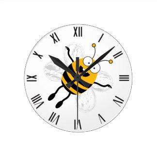 Cartoon Bee Round Clock