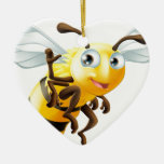 Cartoon Bee Waving Ceramic Heart Decoration