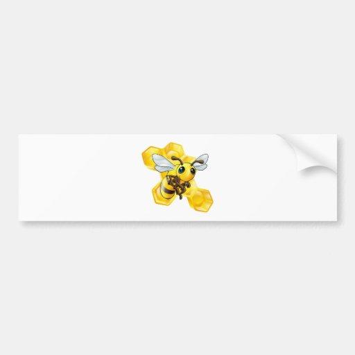 Cartoon bee with honeycomb bumper sticker
