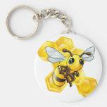Cartoon bee with honeycomb key chains