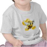 Cartoon bee with honeycomb tee shirt