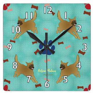 Cartoon Belgian Malinois Square Wall Clock