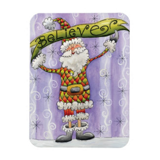 Cartoon Believe in Santa Claus! Merry Christmas! Rectangle Magnet