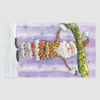 Cartoon Believe in Santa Claus Merry Christmas Rectangle Stickers