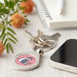 Cartoon Belted Galloway Cow & Calf Metal Keychain