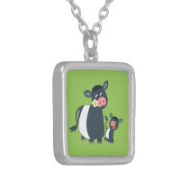 Cartoon Belted Galloway Cow & Calf Necklace