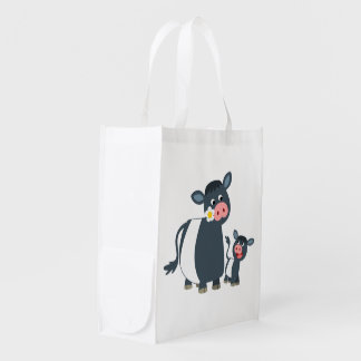Cartoon Belted Galloway Cow & Calf Reusable Bag