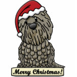 "Cartoon Bergamasco Christmas Ornament<br><div class=""desc"">Adorable Bergamasco Christmas Ornament features the herding breed wearing a red Santa hat. The sign underneath him reads,  &quot;Merry Christmas!&quot; Cute Bergamasco Xmas ornaments for dog owners!</div>"