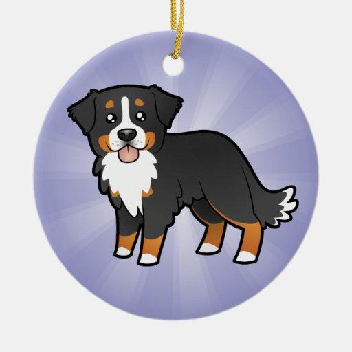 Cartoon Bernese Mountain Dog Christmas Ornament