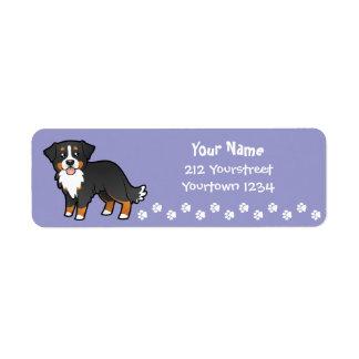 Cartoon Bernese Mountain Dog Label