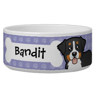 Cartoon Bernese Mountain Dog Dog Food Bowl