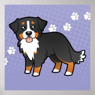 Cartoon Bernese Mountain Dog Poster