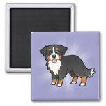 Cartoon Bernese Mountain Dog Refrigerator Magnets