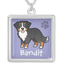 Cartoon Bernese Mountain Dog Silver Plated Necklace