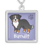 Cartoon Bernese Mountain Dog Square Pendant Necklace