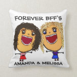 "Cartoon Best Friend BFFs Blonde and Brunette Throw Pillow<br><div class=""desc"">This is a wonderful fun cartoon for any best friends to cherish forever.</div>"
