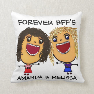 Cartoon Best Friend BFFs Blonde and Brunette Throw Pillow