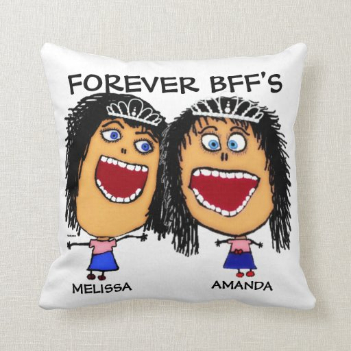 Cartoon Best Friend BFF's Throw Pillows
