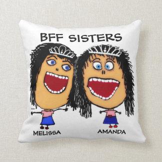 Cartoon Best Friend Sisters Throw Pillows
