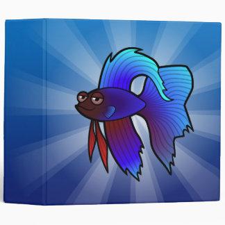 Cartoon Betta Fish / Siamese Fighting Fish 3 Ring Binder