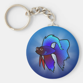 Cartoon Betta Fish / Siamese Fighting Fish Basic Round Button Keychain