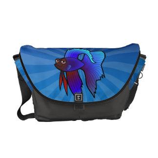 Cartoon Betta Fish / Siamese Fighting Fish Courier Bag