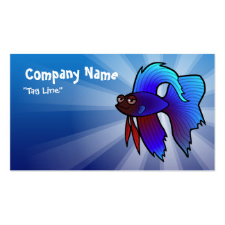 Cartoon Betta Fish / Siamese Fighting Fish Double-Sided Standard Business Cards (Pack Of 100)
