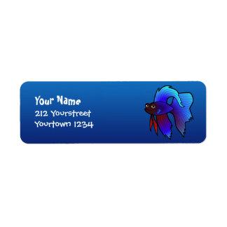 Cartoon Betta Fish / Siamese Fighting Fish Return Address Label