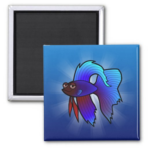 Cartoon Betta Fish / Siamese Fighting Fish Magnets