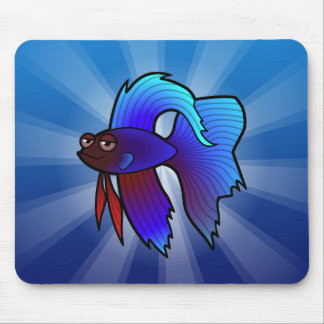 Cartoon Betta Fish / Siamese Fighting Fish Mouse Pad