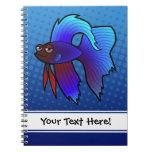 Cartoon Betta Fish / Siamese Fighting Fish Spiral Note Book