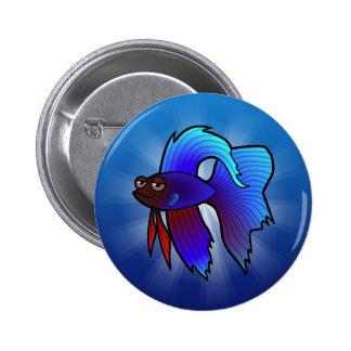 Cartoon Betta Fish / Siamese Fighting Fish Pinback Button