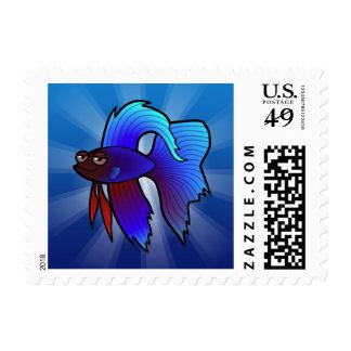 Cartoon Betta Fish / Siamese Fighting Fish Postage