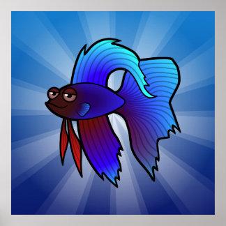 Cartoon Betta Fish / Siamese Fighting Fish Poster