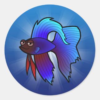 Cartoon Betta Fish / Siamese Fighting Fish Round Stickers