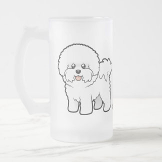 Cartoon Bichon Frise Frosted Glass Beer Mug