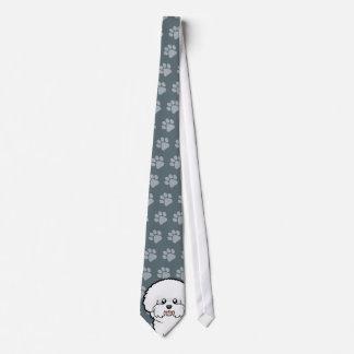 Cartoon Bichon Frise Neck Tie