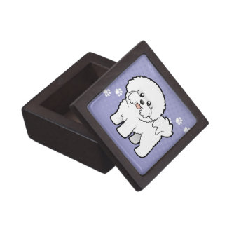 Cartoon Bichon Frise Premium Keepsake Box