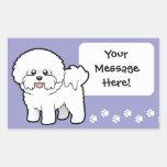 Cartoon Bichon Frise Rectangular Stickers