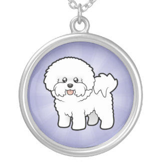Cartoon Bichon Frise Silver Plated Necklace