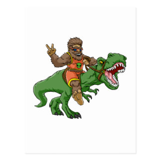 cartoon bigfoot-cartoon t rex-T rex bigfoot Postcard