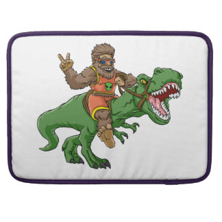 cartoon bigfoot-cartoon t rex-T rex bigfoot Sleeve For MacBook Pro