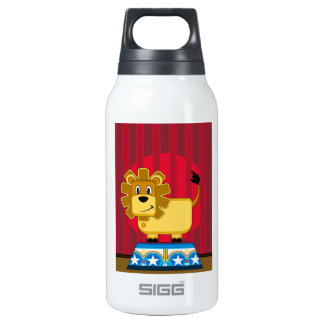 Cartoon Bigtop Circus Lion on Podium Insulated Water Bottle