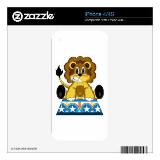 Cartoon Bigtop Circus Lion on Podium Skin For iPhone 4S