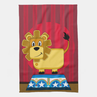 Cartoon Bigtop Circus Lion on Podium Towel