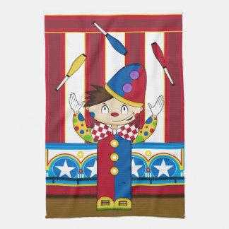 Cartoon Bigtop Juggling Circus Clown Kitchen Towel